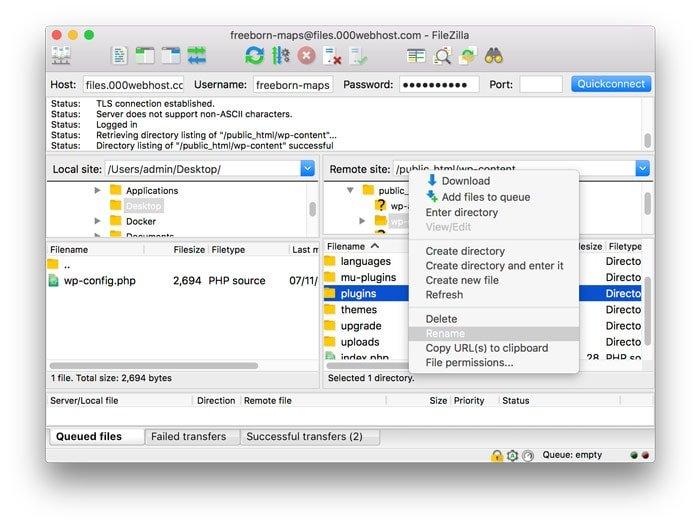 Mengganti nama folder plugin